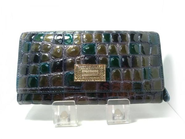 コッコフィオーレ 長財布 カーキ×グリーン 型押し加工 エナメル(レザー)