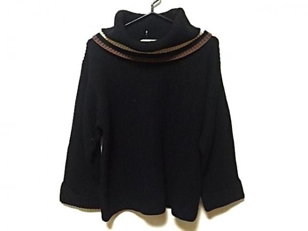 ニジュウサンク 長袖セーター サイズ38 M レディース 黒×アイボリー×ダークブラウン