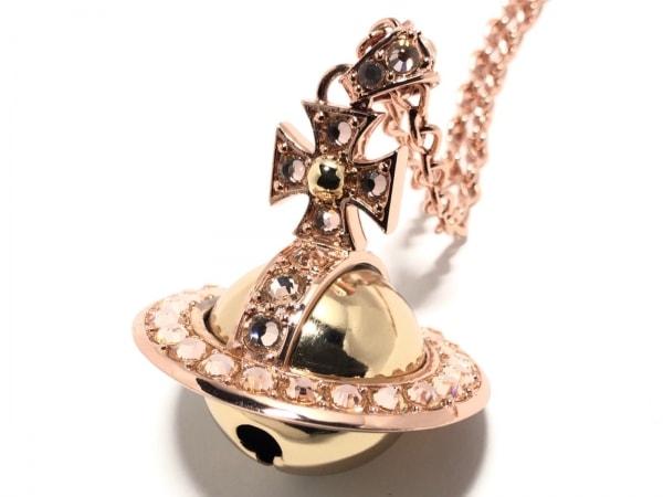 ヴィヴィアンウエストウッド ネックレス美品  金属素材×ラインストーン ベルオーブ