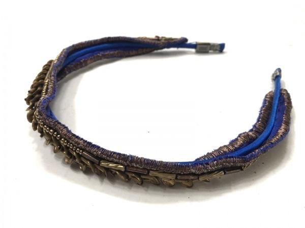 colette malouf(コレットマルーフ) カチューシャ サテン×金属素材 ブルー×ゴールド