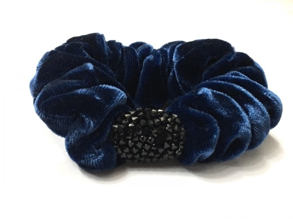 colette malouf(コレットマルーフ) シュシュ美品  ベロア×ラインストーン ブルー×黒