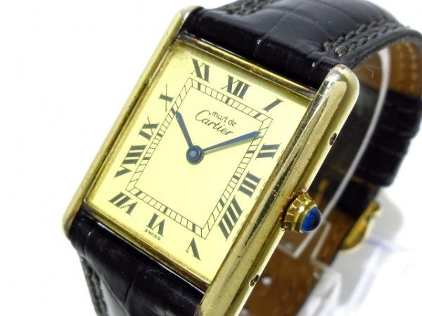 カルティエ 腕時計 マストタンクヴェルメイユ - ボーイズ革ベルト/925 アイボリー