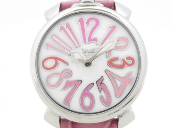ガガミラノ 腕時計美品  マヌアーレ40 5020 ボーイズ シェル文字盤/型押し革ベルト 白