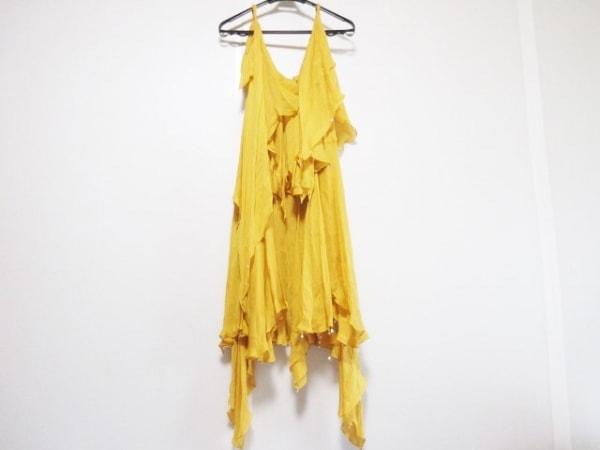 ケイタマルヤマ ドレス サイズ4 XL レディース オレンジ シルク/スパンコール