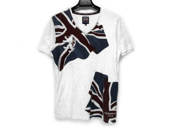 アドミラル 半袖Tシャツ サイズ2 M メンズ 白×ボルドー×ネイビー Men's Bigi