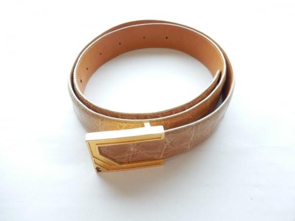 ア・テストーニ ベルト 105/42 ライトブラウン×ゴールド レザー×金属素材