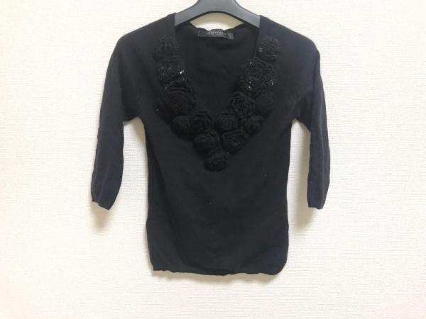 NOVESPAZIO(ノーベスパジオ) 長袖セーター サイズ38 M レディース美品  黒 ビーズ