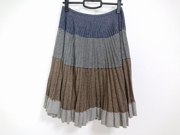 マウリツィオペコラーロ スカート サイズ4USA レディース ライトグレー×黒×ブラウン