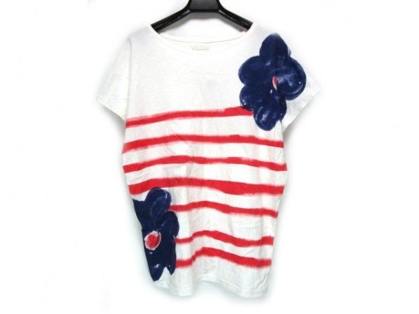ツモリチサト 半袖Tシャツ レディース 白×ネイビー×レッド フラワー/ボーダー