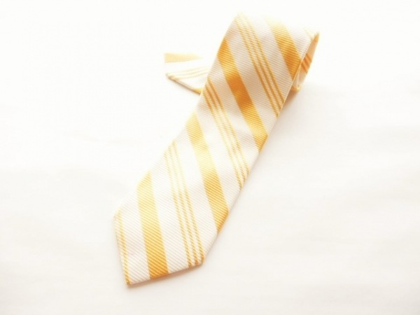 Maker's Shirt鎌倉(メーカーズシャツカマクラ) ネクタイ メンズ美品  白×オレンジ