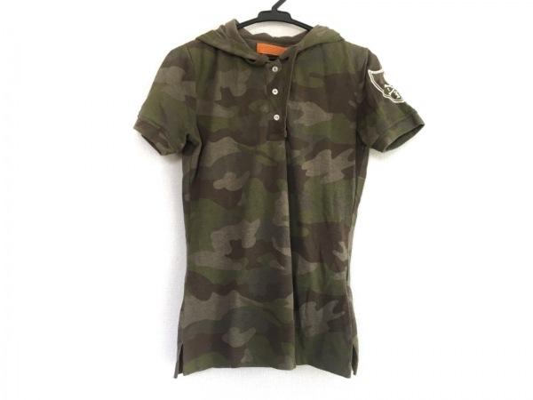 ハイドロゲン 半袖ポロシャツ サイズS レディース カーキ×ブラウン×マルチ