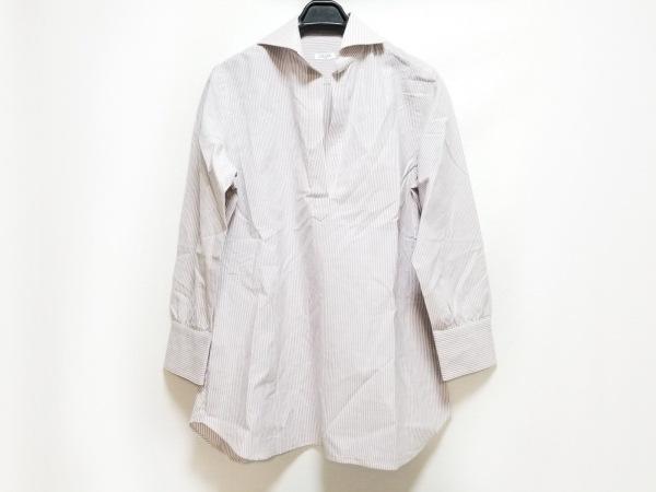オリアン 長袖シャツブラウス サイズ40 M レディース 白×パープル ストライプ/8分袖