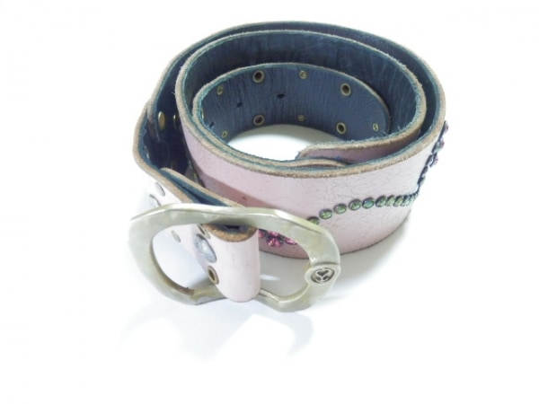 BALTAZAR(バルタザール) ベルト XS ピンク×マルチ レザー×金属素材×ラインストーン
