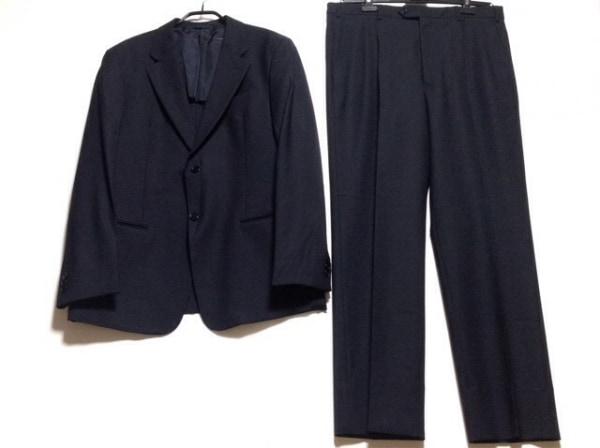 アルマーニコレッツォーニ シングルスーツ サイズ52R メンズ 黒 肩パッド/ネーム刺繍
