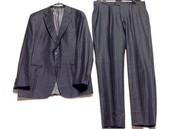 ゼニア シングルスーツ サイズ52R メンズ グレー ストライプ/肩パッド
