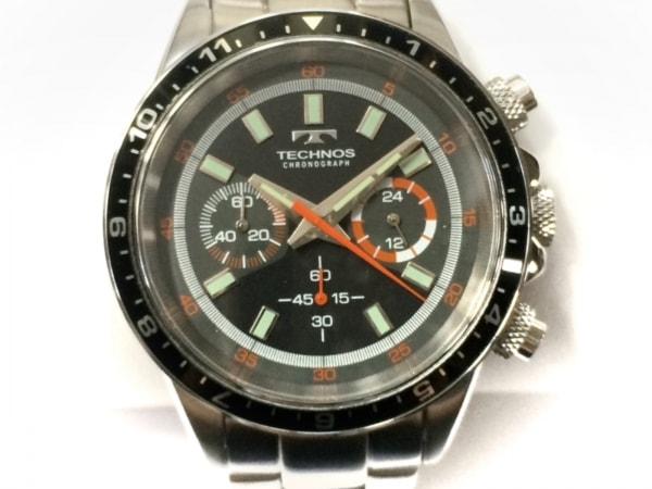 TECHNOS(テクノス) 腕時計美品  T4377 メンズ クロノグラフ 黒