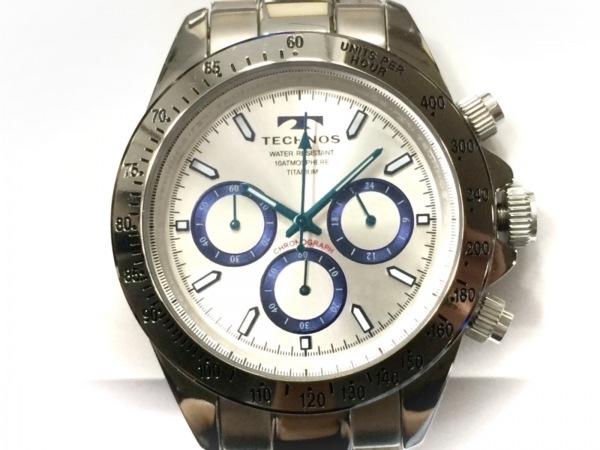 TECHNOS(テクノス) 腕時計美品  T4322 メンズ チタン/クロノグラフ シルバー