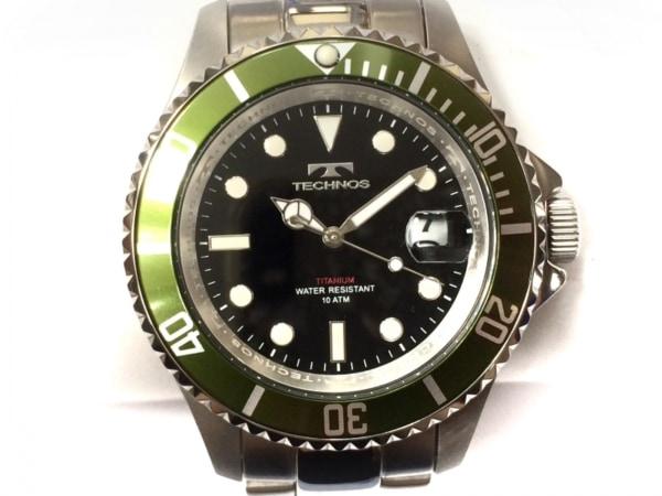 TECHNOS(テクノス) 腕時計美品  T4323 メンズ チタン/クロノグラフ 黒