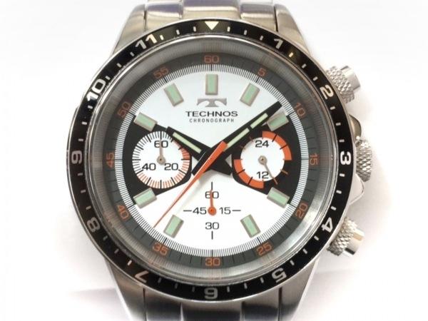 TECHNOS(テクノス) 腕時計美品  T4377 メンズ クロノグラフ 白×黒×マルチ