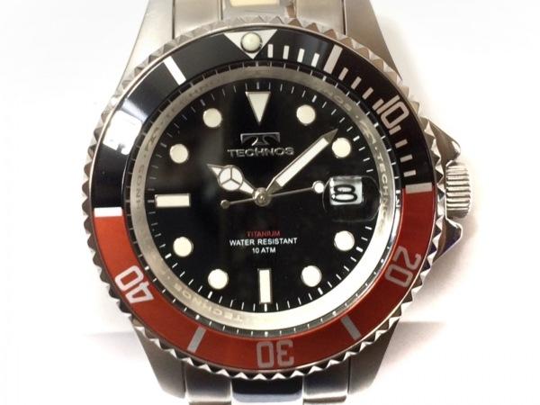 TECHNOS(テクノス) 腕時計美品  T4323 メンズ チタン/回転ベゼル 黒