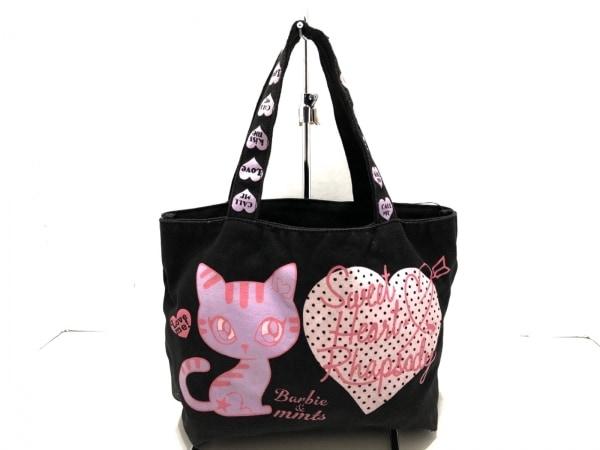 Barbie(バービー) トートバッグ 黒×ピンク×マルチ ハート キャンバス