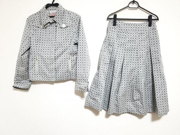 スマートピンク スカートスーツ サイズ40 M レディース美品  グレー×白 ドット柄