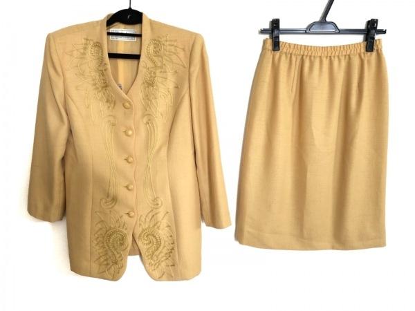 ユキコハナイ スカートスーツ サイズ9 M レディース美品  イエロー 刺繍