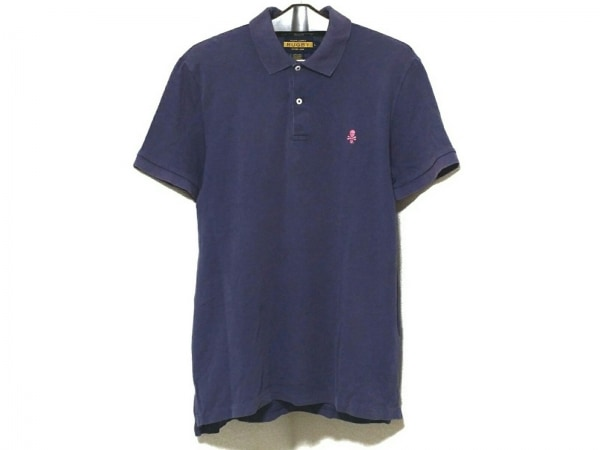 ラルフローレンラグビー 半袖ポロシャツ サイズL メンズ パープル×ピンク