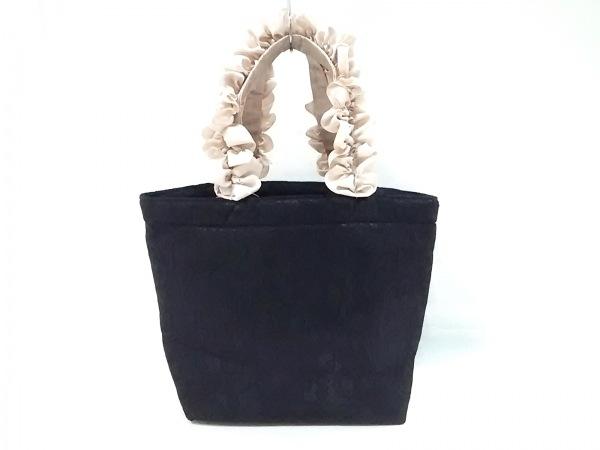 メゾンドフルール トートバッグ美品  黒×ベージュ 花柄レース ナイロン