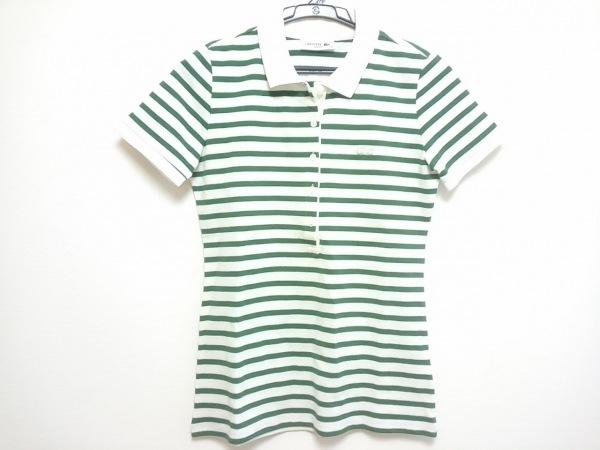 Lacoste(ラコステ) 半袖ポロシャツ レディース 白×グリーン ボーダー
