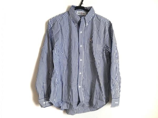 キャプテンサンタ 長袖シャツ サイズM メンズ美品  白×ネイビー ストライプ
