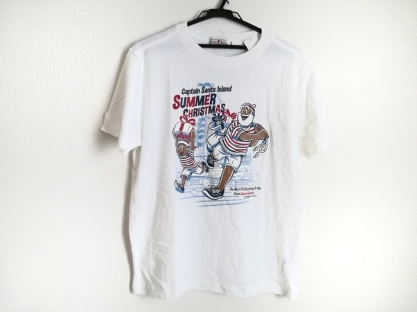 キャプテンサンタ 半袖Tシャツ サイズM メンズ美品  白×ダークネイビー×マルチ