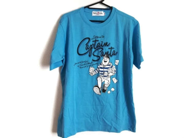 キャプテンサンタ 半袖Tシャツ サイズM メンズ美品  ライトブルー×白×マルチ