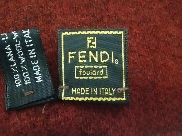 FENDI(フェンディ) マフラー美品  ボルドー×黒×ライトブラウン ウール