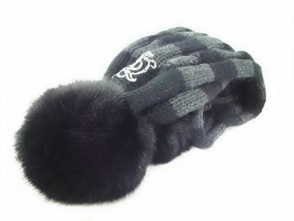 ジューシークチュール 小物新品同様  黒×グレー マフラー&ニット帽セット/ボーダー