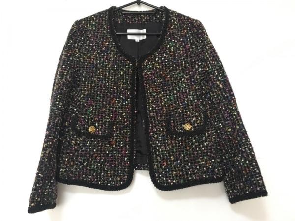 SHIPS(シップス) ジャケット サイズS レディース美品  黒×ピンク×グリーン×マルチ
