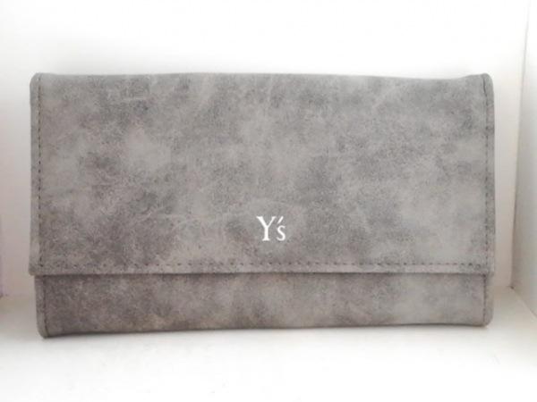 Y's(ワイズ) 長財布 グレー レザー