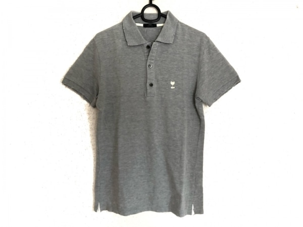 WJK(ダブルジェイケイ) 半袖ポロシャツ メンズ美品  グレー×アイボリー ダメージ加工