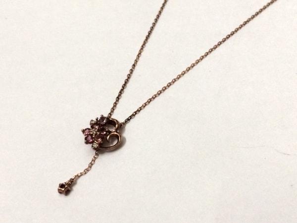 ヴァンドーム青山 ネックレス美品  K10×カラーストーン ピンク×パープル ハート