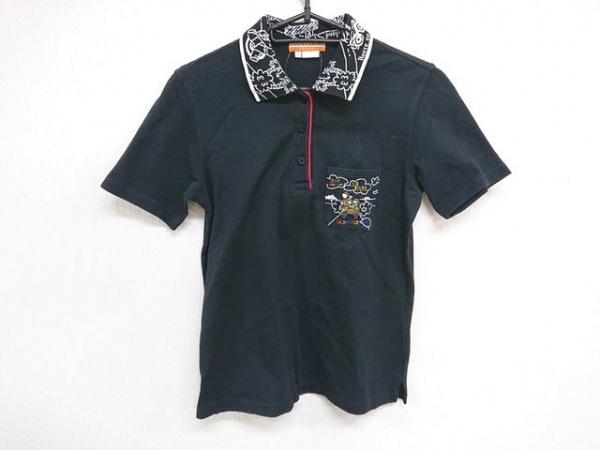 カステルバジャックスポーツ 半袖ポロシャツ サイズ1 S レディース 黒×白×マルチ
