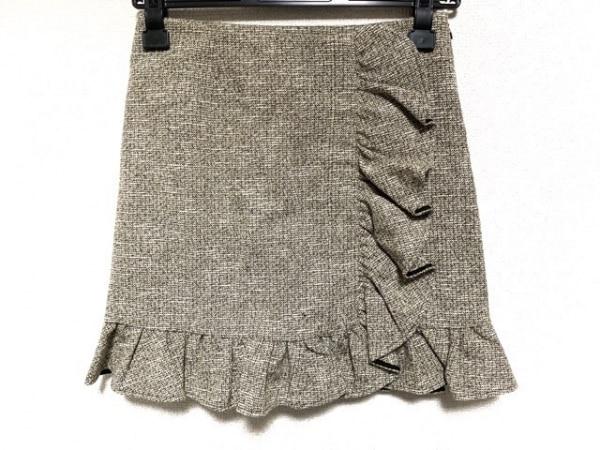 バレンチノ スカート サイズ38 M レディース 白×黒×ダークブラウン フリル