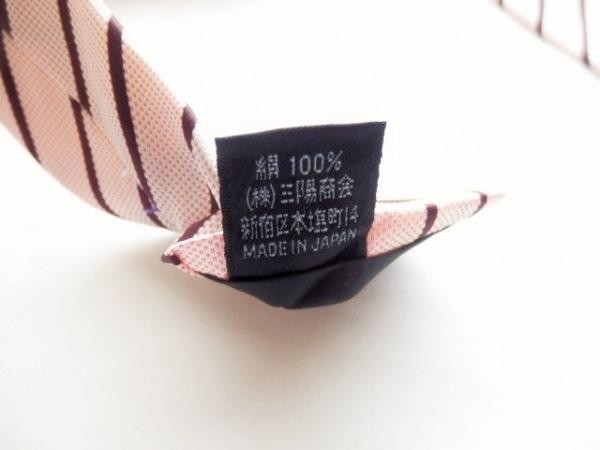 バーバリーブラックレーベル ネクタイ メンズ ピンク×ダークブラウン 斜めストライプ