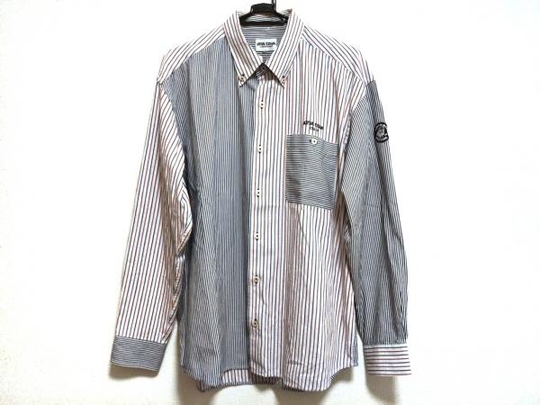 SINACOVA(シナコバ) 長袖シャツ サイズLL メンズ美品  白×ネイビー×レッド