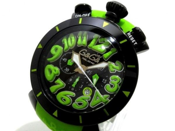 GAGA MILANO(ガガミラノ) 腕時計美品  マヌアーレクロノ48MM 6054.2 メンズ 黒