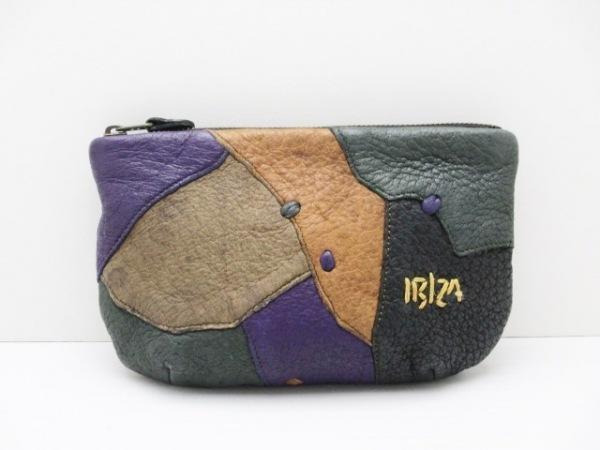 IBIZA(イビザ) ポーチ パープル×ダークグリーン×マルチ パッチワーク/刺繍 レザー