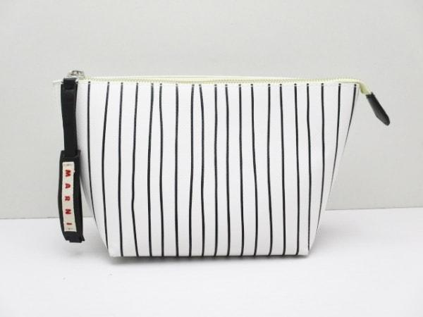 MARNI(マルニ) ポーチ新品同様  白×黒 ストライプ PVC(塩化ビニール)