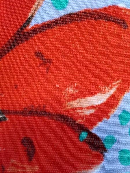イタリヤ 半袖カットソー サイズ11 M レディース レッド×グリーン×マルチ 花柄