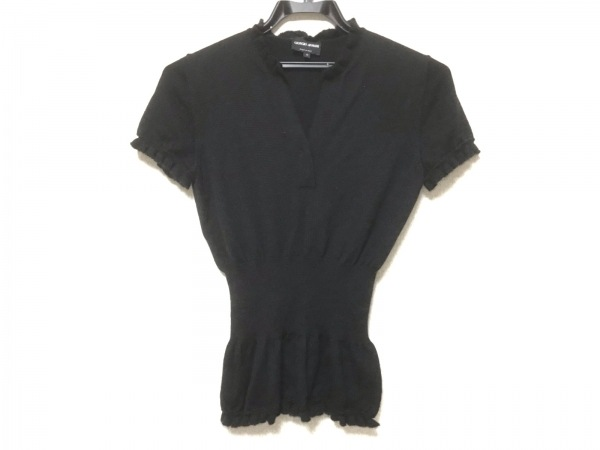 GIORGIOARMANI(ジョルジオアルマーニ) 半袖セーター サイズ40 M レディース美品  黒