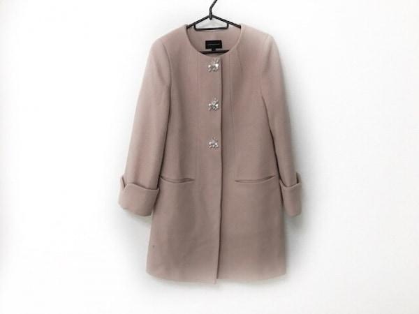 クイーンズコート コート サイズ1 S レディース美品  ピンク 冬物/ビジュー