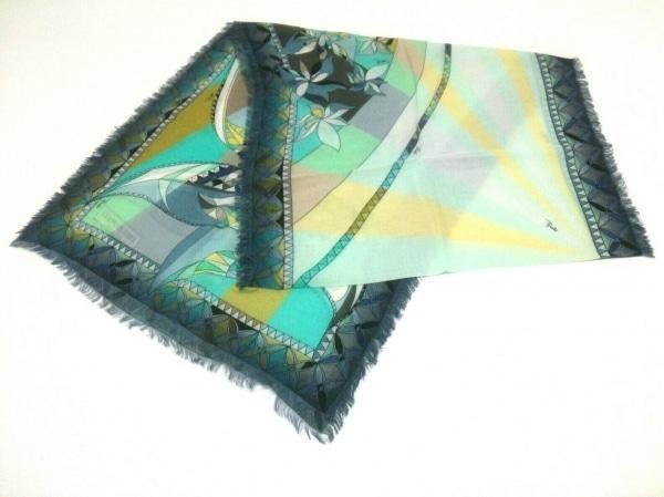 EMILIO PUCCI(エミリオプッチ) スカーフ美品  ライトブルー×ライトグリーン×マルチ